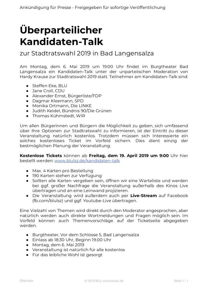 Pressemitteilung an TA, AA, Amtsblatt