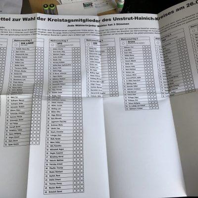 Stimmzettel für die KREISTAGSwahl