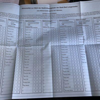 Stimmzettel für die STADTRATSwahl