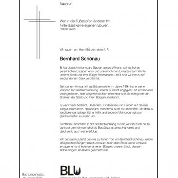 Nachruf – Wir trauern um Herrn Bürgermeister i.R. Bernhard Schönau