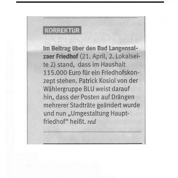 """""""Umgestaltung Hauptfriedhof"""" anstelle von """"Friedhofskonzept"""""""