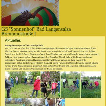 """Gutes Gelingen für das """"Grüne Klassenzimmer"""" der Grundschule Sonnenhof in Bad Langensalza"""